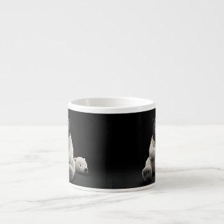 Black bear wearing polar bear costume espresso mug