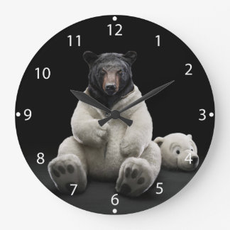Black bear wearing polar bear costume large clock