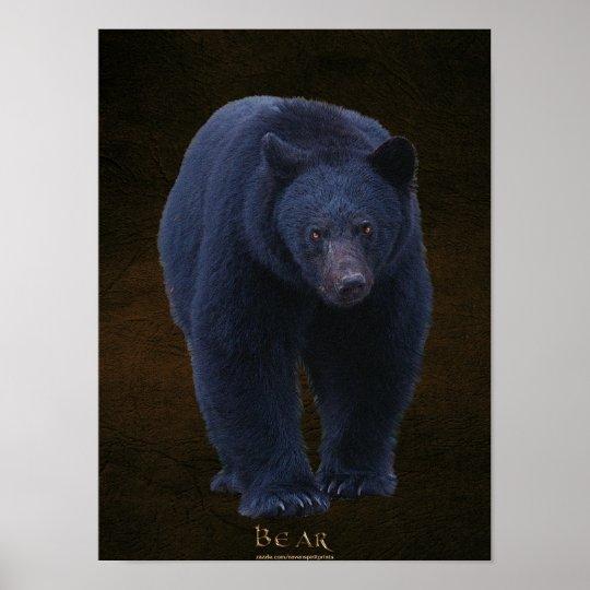 Black Bear Wildlife Art Poster w Faux-leather BG