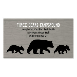 Black Bear with Cubs Silhouettes Pack Of Standard Business Cards