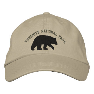 Black Bear with Customizable Text Embroidered Hats
