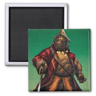 Black Bear'd Square Magnet