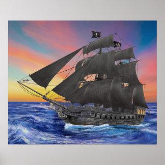 Black Beard's Pirate Ship Poster