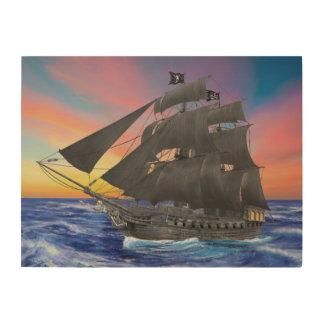 Black Beard's Pirate Ship Wood Wall Art