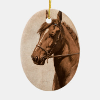 Black Beauty Ginger Horse Painting for Sewell book Christmas Ornament