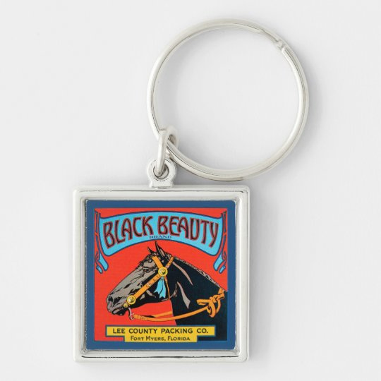 Black Beauty Horse on Red Background Silver-Colored Square Key Ring