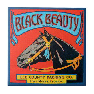 Black Beauty Horse on Red Background Tile