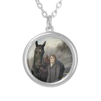 Black Beauty Sewell book painting by Welch Silver Plated Necklace