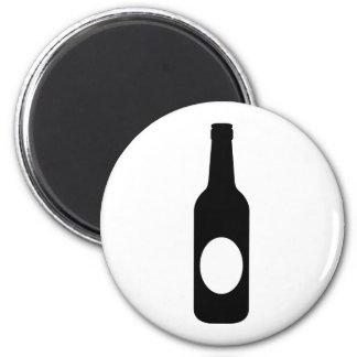 Black Beer Bottle 6 Cm Round Magnet