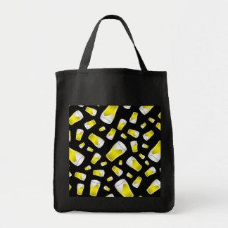 Black beer pattern tote bag