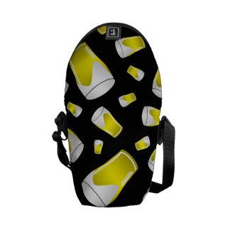 Black beer pattern courier bag