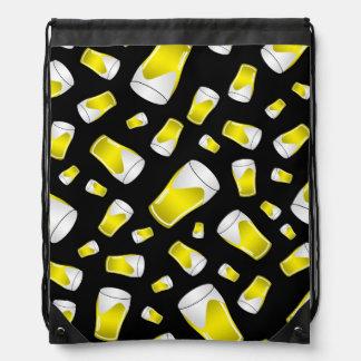 Black beer pattern drawstring bag