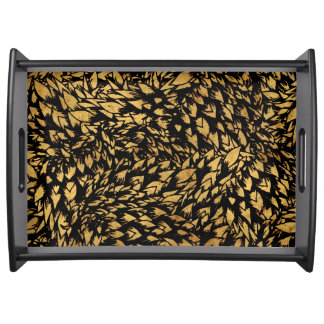 BLACK & BEIGE DESIGN LARGE SERVING TRAY
