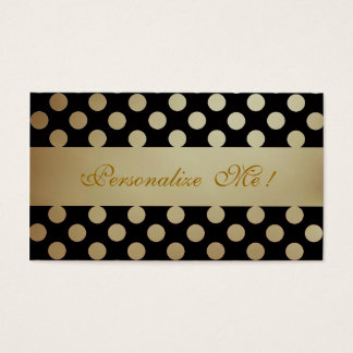 Black Beige Pattern Elegant Polka Dots Modern Chic Business Card
