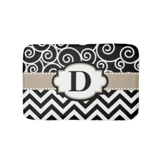 Black Beige Swirls Chevron Bath Mats