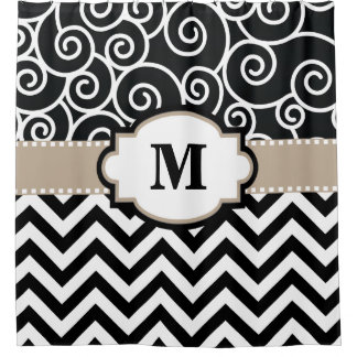 Black Beige Swirls Chevron Monogram Shower Curtain