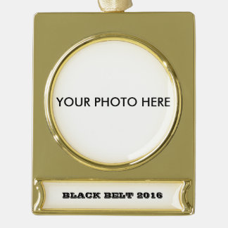 Black Belt Ornament to personalize with your Photo Gold Plated Banner Ornament