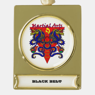 Black Belt Ornament withe Double Dragon Design Gold Plated Banner Ornament