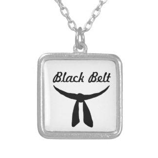 Black Belt Party Square Pendant Necklace