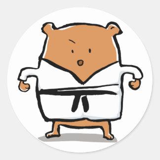 black belt round sticker