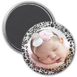 Black Berry Framed Baby Photo 7.5 Cm Round Magnet