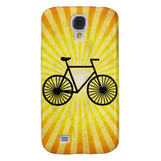 Black Bicycle; Yellow Background Samsung Galaxy S4 Cover