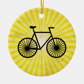 Black Bicycle; Yellow Background Christmas Ornament
