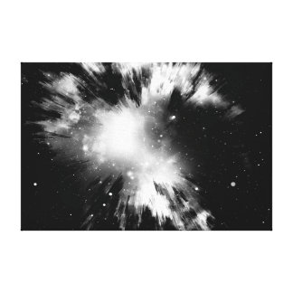 black Big Bang Stretched Canvas Prints