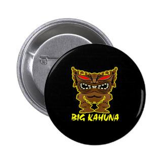 Black Big Kahuna Tiki God 6 Cm Round Badge