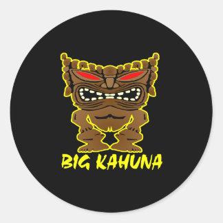 Black Big Kahuna Tiki God Round Sticker
