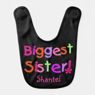 Black Biggest Sister Bib