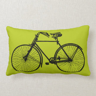 black bike bicycle Throw pillow avocado green