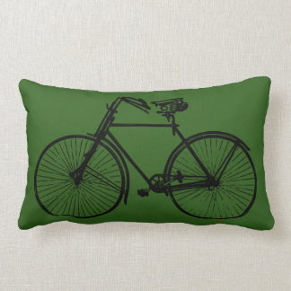 black bike bicycle Throw pillow green
