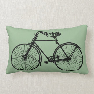 black bike bicycle Throw pillow green sea foam