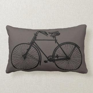 black bike bicycle Throw pillow grey