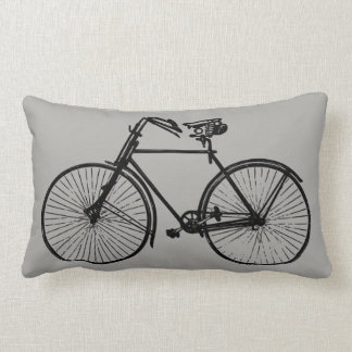 black bike bicycle Throw pillow grey