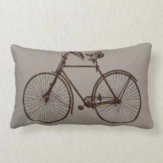 black bike bicycle Throw pillow grey brown