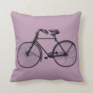 black bike bicycle Throw pillow mauve purple