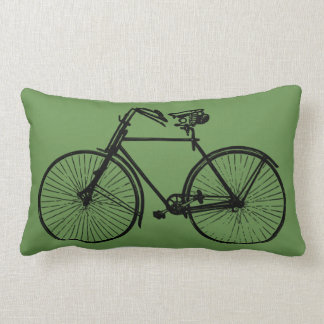 black bike bicycle Throw pillow moss green