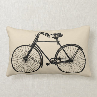 black bike bicycle Throw pillow oatmeal