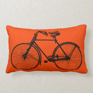 black bike bicycle Throw pillow orange
