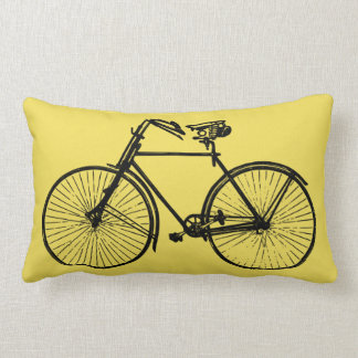 black bike bicycle Throw pillow pale yellow