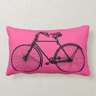 black bike bicycle Throw pillow pink