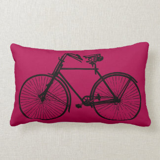 black bike bicycle Throw pillow pink