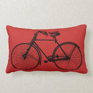 black bike bicycle Throw pillow red