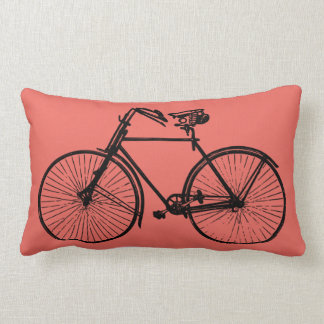 black bike bicycle Throw pillow salmon pink