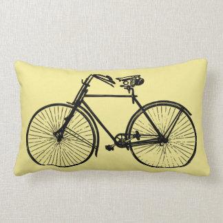 black bike bicycle Throw pillow yellow