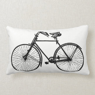 black bike bicycle white Throw pillow