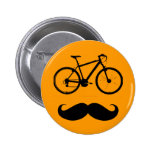 black bike moustache 6 cm round badge