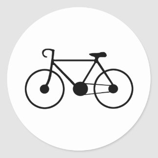 Black Bike Round Sticker